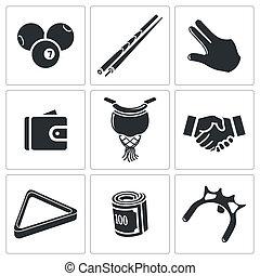 Billiard icons set