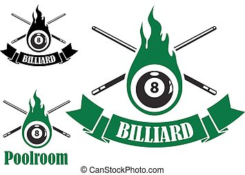 Billiard icons with crossed cues behind a flaming number 8 ball, two with ribbon banners and text Billiard, and the third with text Poolroom