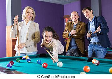 billiard, juego, gente