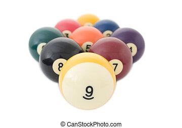 billiard, nio, klumpa ihop sig