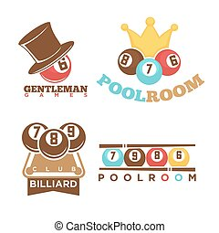 Billiard or poolroom gentleman club logo templates set. Vector isolated icons of pool room gaming cues and balls with numbers, man hat and winner crown for championship tournament