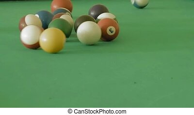 Billiard or pool table with balls being breaking - Isolated...