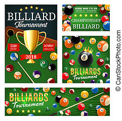 Billiard or pool tournament, cups and balls