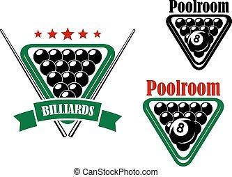 Billiard or poolroom emblem with black balls and cues...