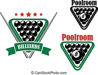 Billiard or poolroom emblem with black balls and cues isolated on white