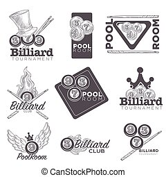 Billiard or poolroom vector logo retro sketch for championship club or sport game tournament. Isolated billiard balls, cue and gentleman hat
