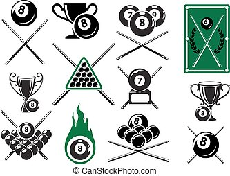 Billiard, pool and snooker sports emblems with crossed cues,...