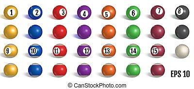 Billiard, pool balls collection.