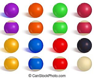 Billiard, pool balls collection