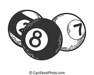 Billiard pool balls ivories engraving vector illustration....