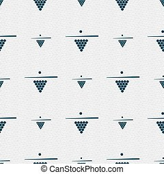 Billiard pool game equipment icon sign. Seamless pattern with geometric texture. Vector
