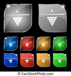 Billiard pool game equipment icon sign. Set of ten colorful buttons with glare. Vector