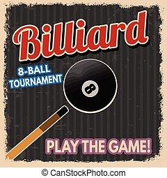 billiard, retro, affisch