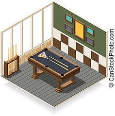 Billiard Room Isometric Composition