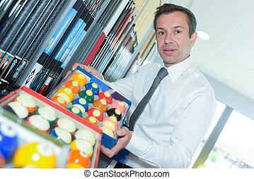 billiard shop and shop assistant
