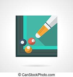 Billiard skill flat square vector icon