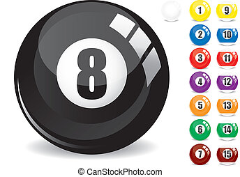 Billiard snooker - pool ball eight - 8 ball - black and othe fifteen 15 billiard balls, isolated on white, with reflections, vector illustration