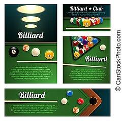 Billiard sport club and poolroom banner template