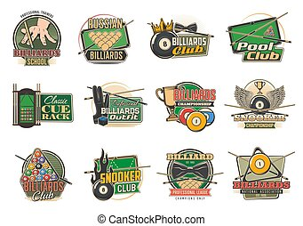 Billiard sport isolated vector icons with pool or snooker tables, balls and cues, game club racks, league team trophy or winner cup, player glove, chalk and bowtie. Tournament or championship emblems