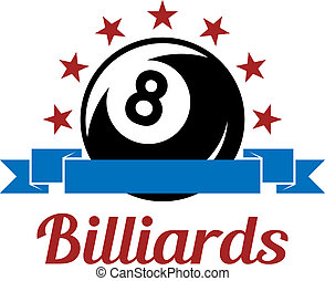 Billiard sport symbol with ball, ribbons, stars and text for...
