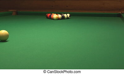 Billiard. - HD 1080 clip of pool game opening hit.