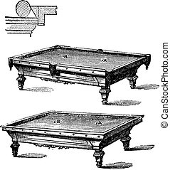 Billiard table and Carom billiards, tables, vintage...