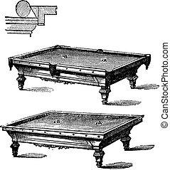 Billiard table and Carom billiards, tables, vintage...