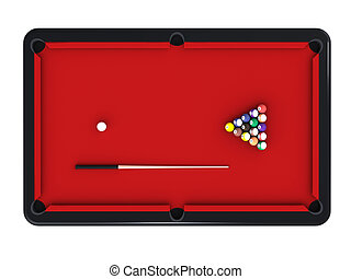 Billiard table - 3D rendering of billiard table isolated on...