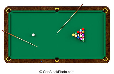 Billiard table with balls and cues isolated on white...