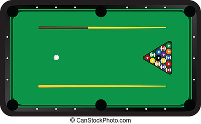 Billiard Table With Balls And Cues Vector Illustration