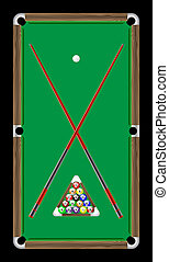 Billiard table with balls black