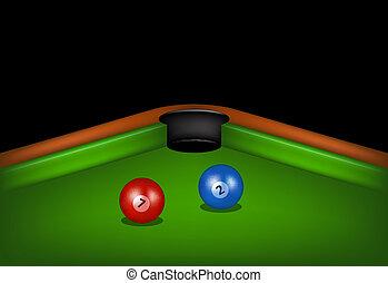 Billiard table with billiard balls