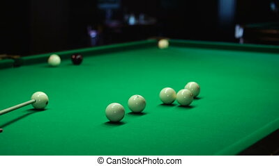 billiard table with the attributes of the game