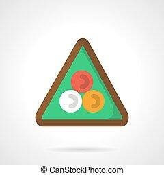Billiard triangle flat color vector icon