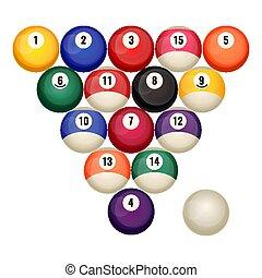 billiard, vector, pelotas, aislado, piscina, de arranque, ...