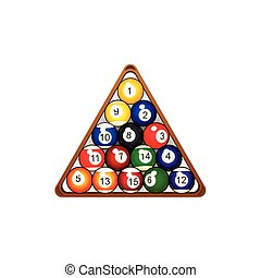 billiard, vector, triángulo, pirámide, pelota, plano