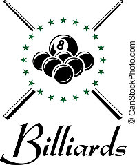 Billiards and snooker sports emblem with balls, cue , stars...