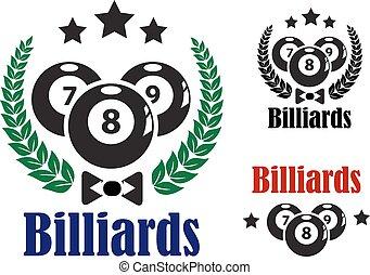 Billiards badges or emblems