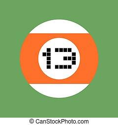billiards ball number thirteen - design of billiards ball...