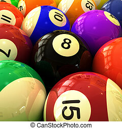 Billiards Balls Closeup - closeup of colorful billiards...