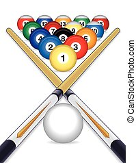 billiards balls with cue sticks