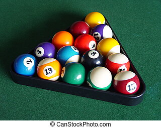 Billiards  - billiards balls on a green table