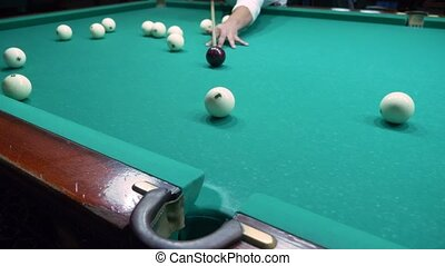 billiards. Close-up. man hand with cue and white ball on a green pool table. copy space