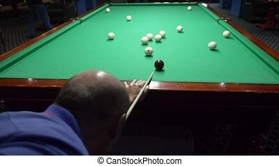 billiards. Close-up. man hand with cue and white ball on a green pool table. copy space.