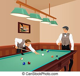 Billiards competition - American billiards competition. Two ...
