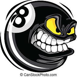 Billiards Eight Ball Angry Face - Cartoon Face on a ...