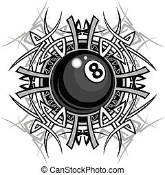 Billiards Eight Ball Tribal Graphic - Graphic of a Billiards...