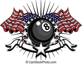 Billiards Eightball Vector Template - Stars and Stripes...