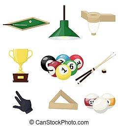 Billiards equipment hobby sport entertainment gamble player tools vector illustration. Snooker pool ball circle table.