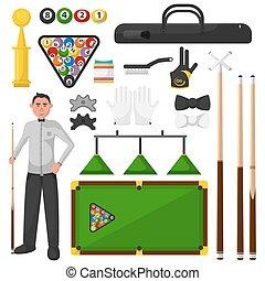 Billiards flat illustration. Billiardist with game equipment.